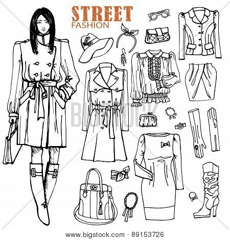 Fashion girl and street clothing set.Outline Sketch style