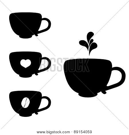 Vector Black Coffee Icons Set Isolated On White.
