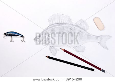 Fishing Plastic Bait With Drawing Fish. Graphite Pencils And Eraser On The White Background.