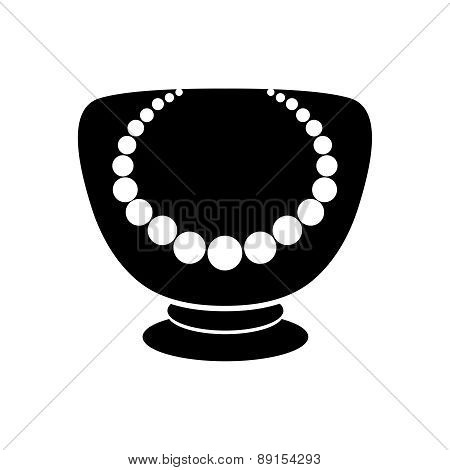 Stand For Jewelry With Pearl Necklace. Mannequin Icon.