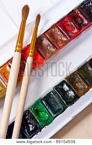 Professional Watercolor Paints In Box With Brushes