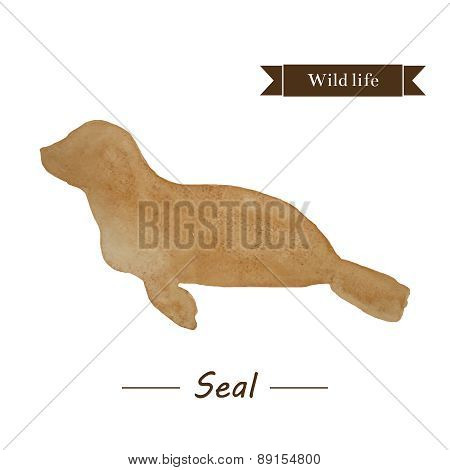 Brown Seal Illustration. Abstract Watercolor Sea Calf.