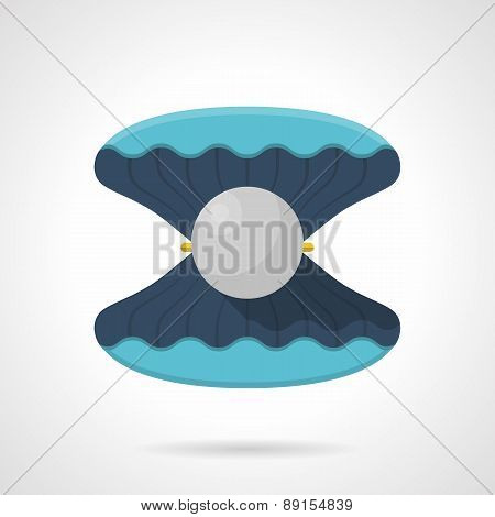 Flat vector icon for blue scallop