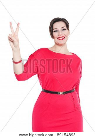 Beautiful Plus Size Woman In Red Dress With Victory Isolated