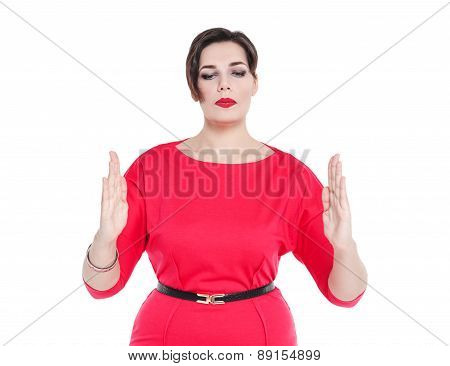 Beautiful Plus Size Woman Making Size Gesture Isolated