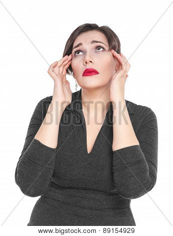 Beautiful Plus Size Woman With Headache Isolated