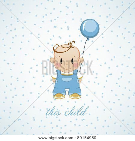 A Little Boy With Inflatable Balls And Stars. The Birthday Child