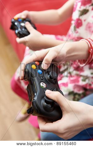 Children Playing On Games Console