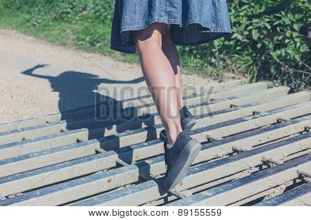 Woman Tripping On Cattle Grid