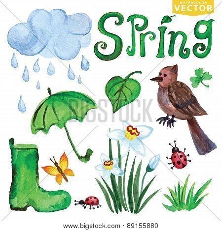 Watercolor Spring icons.Clouds, Word,bird,flowers