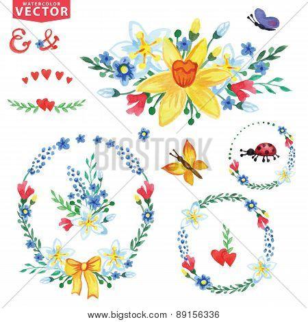 Watercolor Spring flowers wreaths,group