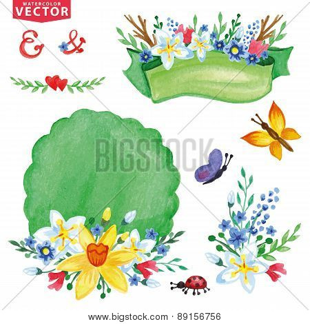 Watercolor Spring flowers bouquet decor set