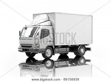 3d courier service delivery truck icon with blank sides ready for custom text and logos. Shallow depth of field