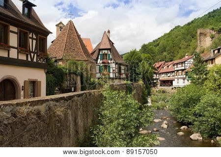 Houses and river in Kaysersberg, Alsace, France