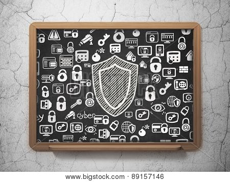 Safety concept: Shield on School Board background