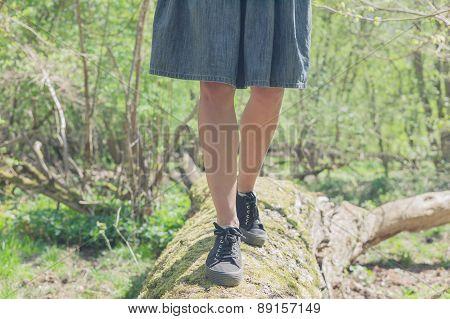 Woman Walking On A Felled Tree