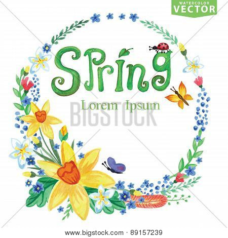 Watercolor Spring Background.Word,branches,floral wreath