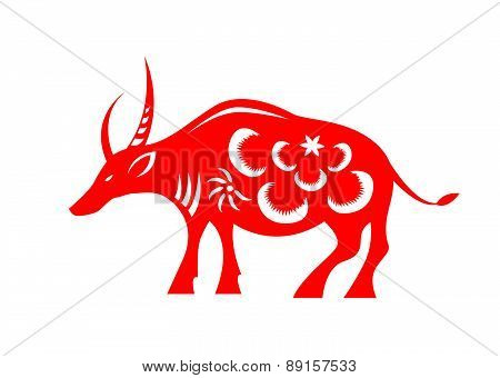 Red paper cut a cow zodiac symbols