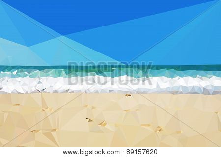 Vector low poly day beach background