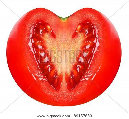 Fresh tomato with heart shaped cutted section