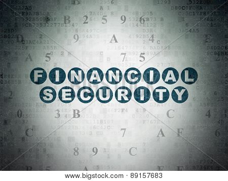 Protection concept: Financial Security on Digital Paper background