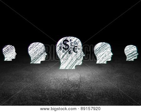 Finance concept: head with finance symbol icon in grunge dark room