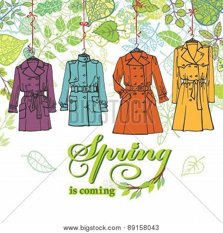 Spring  Fashion .Woman coats set.Leaves decor