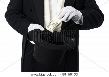 Magician Pulling Money Out Of Hat On White Background