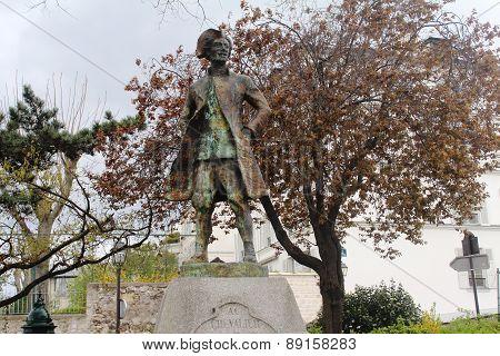 The statue of Chevalier de la Barre, Montmartre, Paris