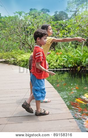 Young boy with sister feeding the koi carp fish in the ornamental pond