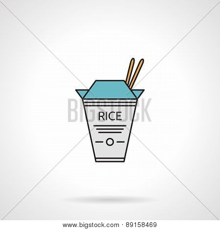 Flat vector icon for take-away rice pack