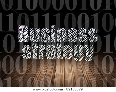 Business concept: Business Strategy in grunge dark room