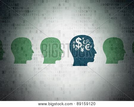 Finance concept: head with finance symbol icon on Digital Paper background