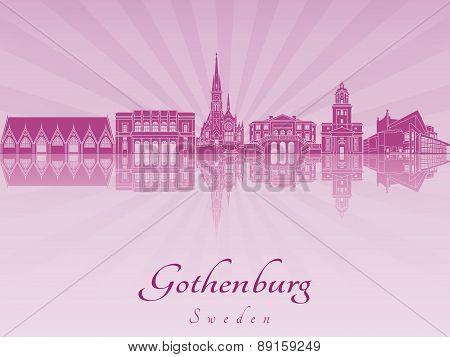 Gothenburg Skyline In Purple Radiant Orchid