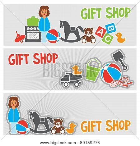 Children Gift Shop Banner Set, Flat Vector Illustration