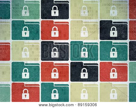 Finance concept: Folder With Lock icons on Digital Paper background