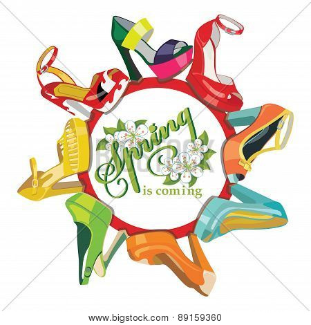 Multicoloured fashion womens shoes.Circle composition.Spring