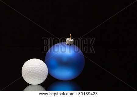 Blue Christmas Decoration A Golf Balls