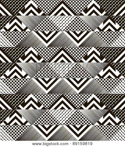 Stylish Modern Black And White Patchwork Seamless Pattern