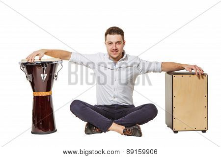 Cajon And Djembe And A Guy