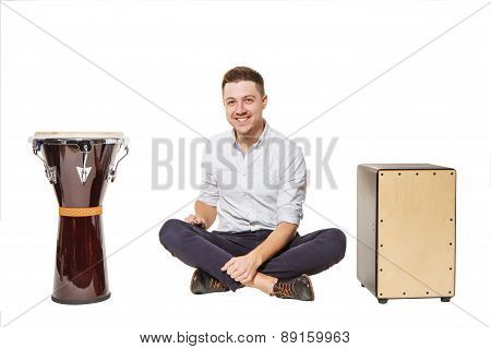 Djembe Cajon And Near Men
