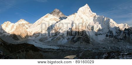 Panoramic Evening View Of Mount Everest From Kala Patthar