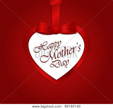 Happy Mother's Day text in heart paper gift heart