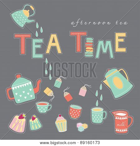 Tea Time Doodle Illustration Pastel Color Vector On Dark Grey Background