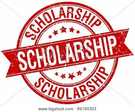 Scholarship Grunge Retro Red Isolated Ribbon Stamp