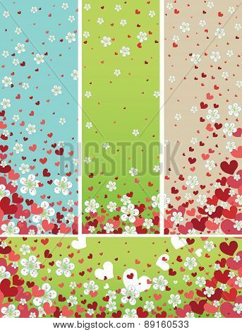 Flying spring flowers and red hearts backgrounds set