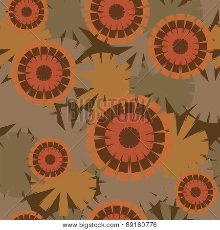 Fashionable Seamless Pattern Of Psychedelic Sunflowers
