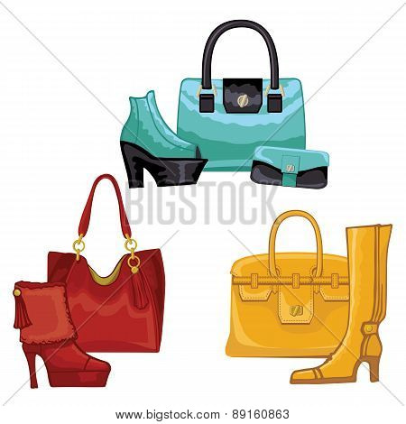 Fashionable colored womens boots ,shoes,handbags