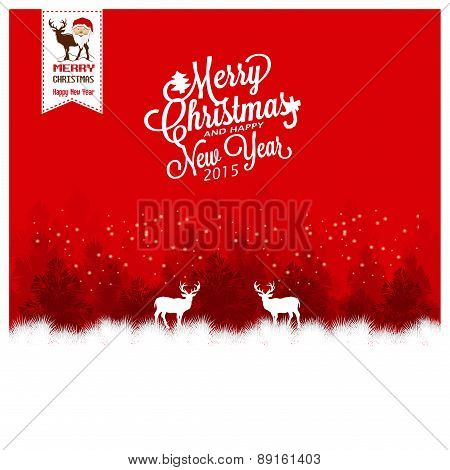 Merry Christmas Landscape With Deers.