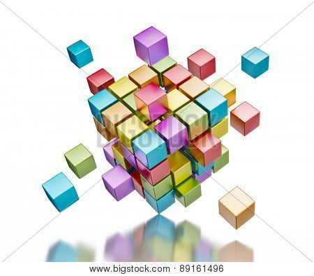 Business teamwork internet communication concept - colorful color cubes assembling into  cubic structure standing on one corner isolated on white with reflection